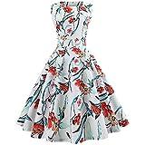 Xmiral Damen Kleid Polyester-Weinlese-Sleeveless O-Ansatz-Abend-Druck-Partei-Elegantes Ballkleid-Kleid (S,Weiß-1)