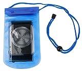 Pochette housse imperméable pour appareil photo numérique compact Vivitar V5119, Fujifilm XQ1, Finepix XP70, JV500 - bleu, cordon réglable + Chiffon BONUS !