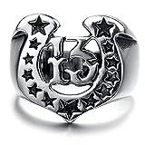 Adisaer Ring Silber Antik Ring Männer Osmanisch Punk Schwarz Silber U Form Sterne Muster Pentagramm 13