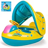 QIN-SUN Barca per Bebè Gonfiabili, Piscina Baby Salvagente Bambini Float con Parasole(da 6 Mesi a 4 Anni)