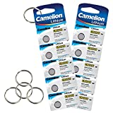Camelion by SBS Knopfzelle Lithium Batterie CR1216 3V 10 Stück + 5 Schlüsselringe gratis