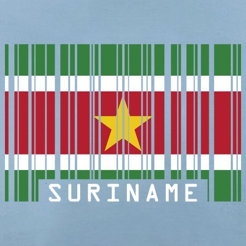Suriname / Republik Suriname Barcode Flagge - Herren T-Shirt - 13 Farben Himmelblau