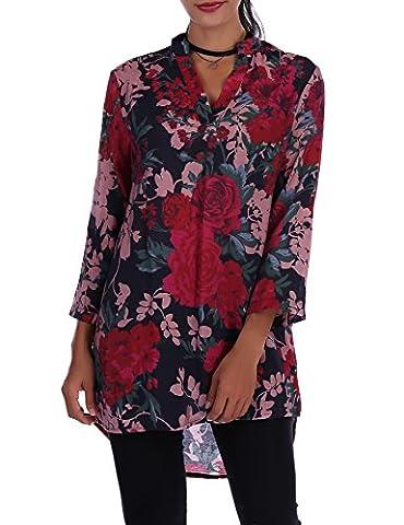Chemisier Femme Manches Longues Col V Tops tunique femme longue Floral Imprimé Slim Blouse Casual Lâche Haut Tee Shirt Mousseline de Soie Ample