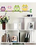 zooyoobrand Wunderschöne bunt Süße Eulen auf dem Ast Wandtattoo Home Decor Wand-Aufkleber für Kinder/Wohnzimmer Mehrfarbig