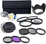 BPS 52mm Filter Set 12 in 1 Kit: UV CPL FLD Filter+3-Stage Rubber Lens Hood + ND Filters(ND2 ND4 ND8) + Macro Close Up Lens Filter (+1 +2 +4 +10) + Lens Cap +Cleaning Kit for Canon EOS 700D 1200D 70D 750D 5D 1100D Nikon D3200 D7200 D3300 Sony A77 Alpha A58 A99 Alpha A3000 Pentax K-50 K-3 KS-1 Digital Camera