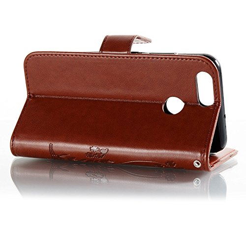 Solid Color Faux Leder Bookstyle Brieftasche Stand Case mit geprägten Blumen & Lanyard & Card Slots für Huawei NOVA 2 ( Color : White ) Brown