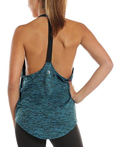 icyzone Damen Zumba Shirt Sport Top Lang - Rückenfrei Workout Gym Tanktop Yoga Oberteile (M, Royal Blue)