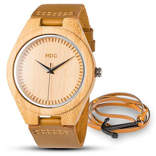 Holzkern Uhren Für Herren Holzuhr Männer Uhr Holz Armbanduhr Holzuhren Natürliche Bambus Für Damen Braun Echtes Leder Armband Handgefertigt by MDC