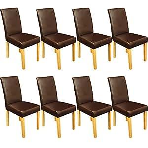 Lot de 8 chaises de salle à manger et cuisine - Faux cuir - Marron - 90x43x42cm