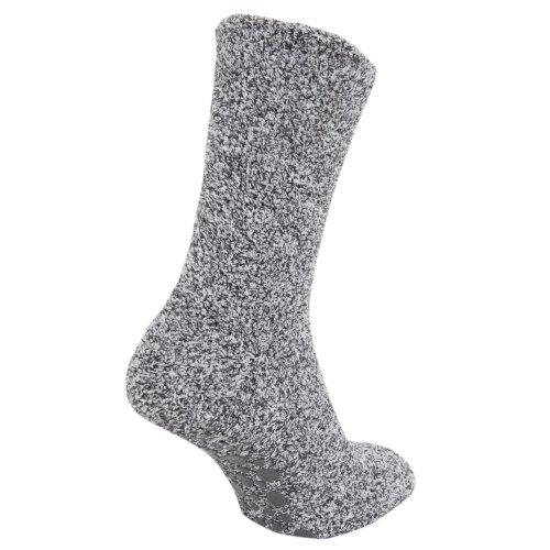 Herren Hausschuh-Socken / Socken mit Anti-Rutsch Gummi-Sohle, besonders warm (39,5 - 47 EUR) (Grau)