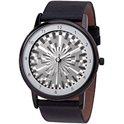 Avantgardia lenko Unisex stainless steel watch IP-black, strap:black genuine leather