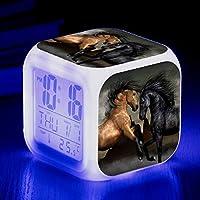 FANTHY HY-CLOCK Despertador De Caballo Animal, Despertador Creativo Pequeño Que Cambia De Color Colorido, Despertador Electrónico LED 8 * 8cm/ Número 1