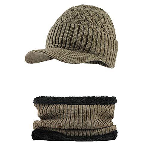 2286e81c8448 Fossen Invierno Hombre Gorro de Punto Tejer de lana Beanie Sombrero de  gorras con Viseras + Bufanda de Cuello redondo (Khaki)
