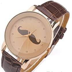 Mustache on a Beige Face with Brown PU Leather Strap Ladies Watch