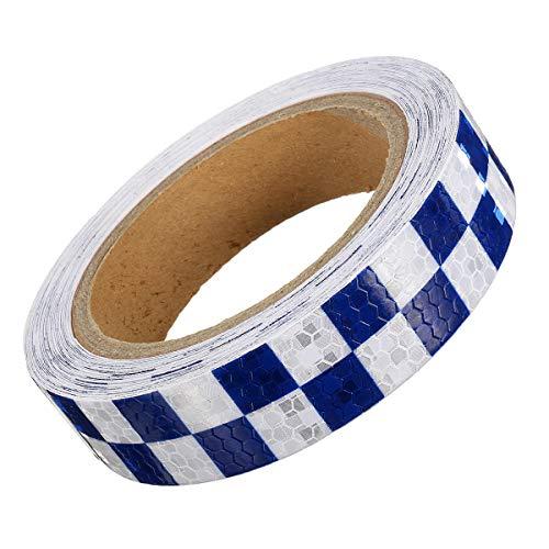 RENCALO 25mm * 10m Warnung Vorsicht Reflektierender Aufkleber Dual Color Checker Roll Signal-Weiß + blau -