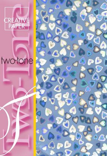 Creative Papier, A4, zweifarbig, mit Herzen, Blau, 4 Stück