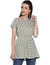 Desi Fusion Women Printed Top (Grey)