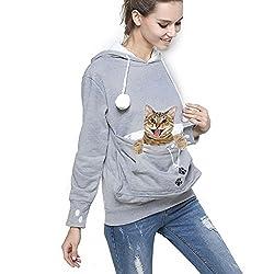 Blinvas Women Plus Size Mewgaroo Hoodie Long Sleeve Sweatshirt Big Pouch Little Pet Carriers Top
