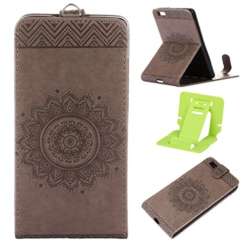 Étui en cuir PU pour Apple iPhone 7 Plus,Vertical Pliable Rabat Shell pour iPhone 7 Plus,iPhone 7 Plus Flip Cover,Ekakashop Etui avec Motif de Gris Mandala Retro Tendance Style Portable Coque de Prote Gris