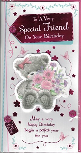 friend-birthday-card-to-a-very-special-friend-on-your-birthday-cute-bear-flower-bouquet-slim-card