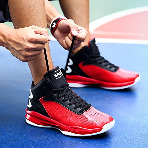 Gomnear Hommes Chaussures de basket-ball Outdoor Performance Sneakers respirant de mode Rouge