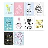 VISUAL STATEMENTS® 20er Postkarten Set GEBURTSTAG mit Sprüchen & Zitaten