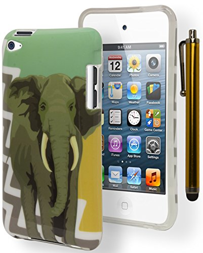 iPod Touch 4Fall, Bastex Antik Blaugrün Gold Chevron mit Elefant Gummi TPU Gel-Schutzhülle für Apple iPod Touch 4inkl. Stylus