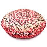 maniona 81,3cm rot Tie Dye Gold Ombre Mandala Große Bodenkissen handgefertigt Lounge Sessel Ottoman Kissenbezug indischen Übergroße osmanischen Pouf quadratisch Kissen