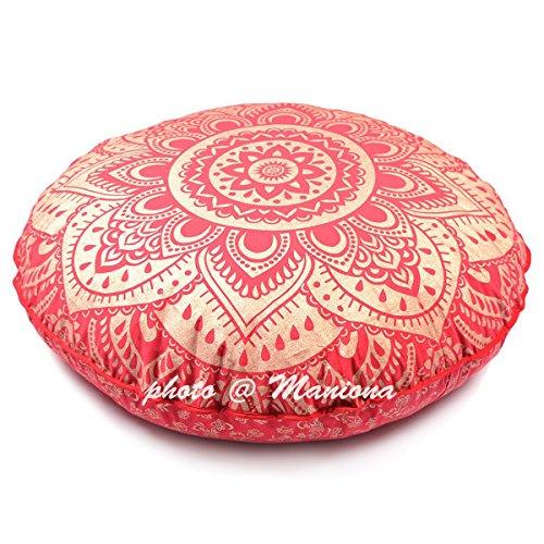maniona 81,3cm rot Tie Dye Gold Ombre Mandala Große Bodenkissen handgefertigt Lounge Sessel Ottoman Kissenbezug indischen Übergroße osmanischen Pouf quadratisch Kissen (Modernen Outdoor-der Osmanischen)