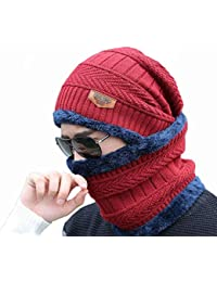 0b0b42dfea71b Alexvyan Women s and Men s Woollen Inside Fur Snow Proof Warm Winter Soft  Beanie Cap with Scarf