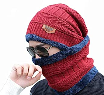 Alexvyan Ultra Soft Warm, Snow Proof -20 Degree Temperature Full Neck Woollen Beanie Cap/Scarf Set for Men and Women (Blue, Regular)
