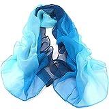 Sciarpa - TOOGOO(R) Gradiente di colore Wrap donna scialle di seta chiffon delle sciarpe della sciarpa(blu chiaro al blu scuro)