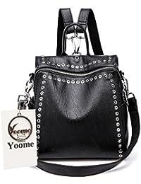 ac563d7912ba1 Yoome Girls Niet Rucksack Korean Campus Fashion Bookbag Weiche PU Leder  Rucksack Tote Handtasche Schulter Handtasche