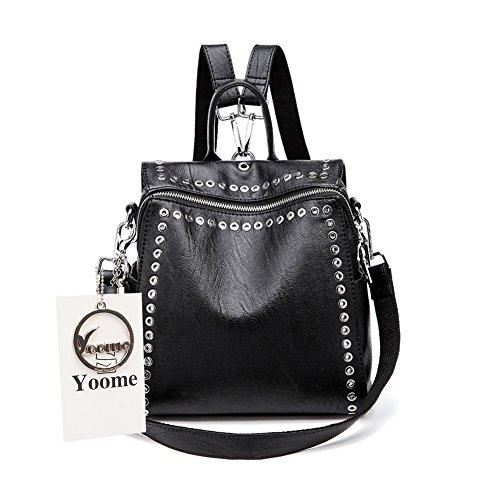 Yoome Girls Niet Rucksack Korean Campus Fashion Bookbag Weiche PU Leder Rucksack Tote Handtasche Schulter Handtasche Reise Daypack für Frauen, Schwarz - Single Strap Tote