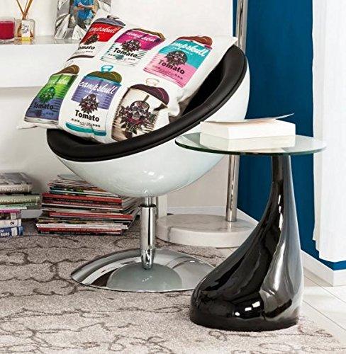 Clear Seat Table d'appoint design KOMA en verre transparent pied noir laqué