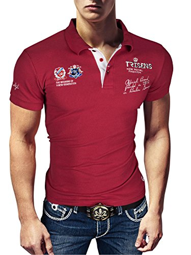 Polo New Poloshirt T-Shirt Shirt Hemd Party Slim Herren Kurzarm Pique Wow, Größe:M, Farbe:Bordeaux -
