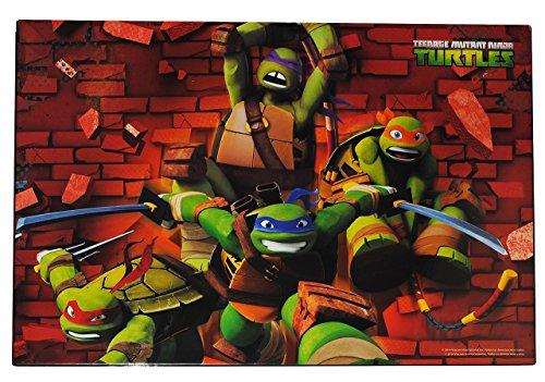 Schreibtischunterlage - Teenage Mutant Ninja Turtles - 51 cm * 36 cm - Kunststoff PVC - Unterlage / Knetunterlage / Schreibunterlage / Tischunterlage - Hero Schildkröten Donatello Michelangelo Raphael Leonardo TMNT - für Kinder Jungen