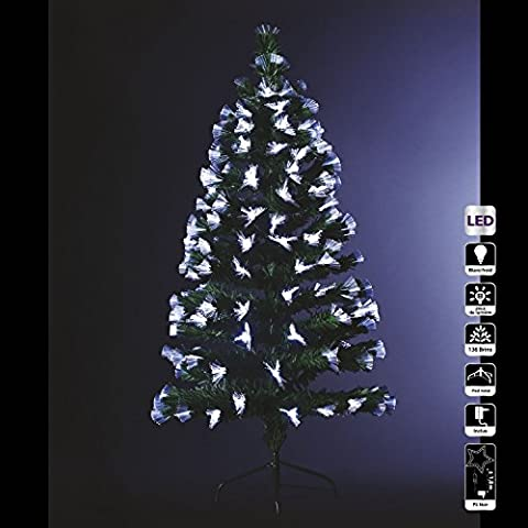 Sapin de Noël artificiel lumineux avec fibre optique + 136 LED + 8 Jeux de lumière - livré avec son pied - Hauteur 120 cm