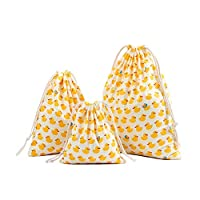 Qinlee 3pcs Cotton Drawstring Bags - Cotton Canvas/Swim / Gym/Book Bag Natural Cotton Shopping School Bags Rucksacks Choice of Three Size (Yellow Duck Pattern)