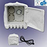 Trango TG-STD2T 2-fach IP44 Steckdosenstein inkl. Zeitschaltuhr für Ihren Garten Steckdosen für Außen inkl. ca. 4,75 Meter Zuleitung