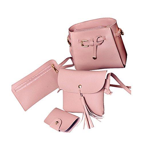 DAY.LIN Weibliche Tasche Umhängetasche Brieftasche Vier Sätze Frauen Vier Set Fashion Handtasche Schultertasche Vier Stücke Einkaufstasche Crossbody Wallet (Rosa)