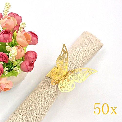 JZK® 50 x Metallähnlicher Gold Schmetterling Perlenpapier Serviettenring Tischdekoration Set für Hochzeit Taufe Geburtstag Party Weihnachten Abendessen Serviette Ringe Dekoration (Gold)