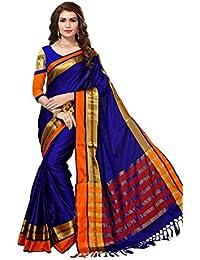 Varayu Women's Maheshwari Silk Woven Patta Work Saree With Unstitched Blouse