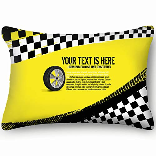 dfgi Grunge Checkered Racing tire Imprints Checkered Decorative Pillow Cover Soft and Cozy, Standard Size 20