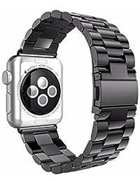Mira la banda,Apple Apple Watch Sanzhu correa de acero inoxidable sólido 42MM,Nueva luz de moda pulsera correa de reloj correa de reloj inteligente Xinan Correa/Banda (Espacio profundo negro)