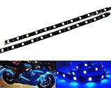2x LUFFY 12 LED Slim Flexible Seitenlicht Seitenblinker Tagfahrlicht Streifen Nebelscheinwerfer DRL 30cm Auto Motorrad Blau