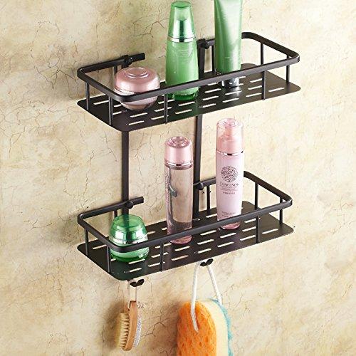 NUANZ Schwarz Bronze Badezimmer-Rack, Imitation Bronze Kosmetische Zahnstange, amerikanische Badezimmer Hardware-Anhänger, Quartett-Rack, Double Deck-Platte (Schraube Aus Schwarzem Deck-platte)