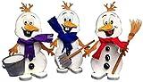 Petra's Bastel News 3 x Schneemann Snowy mit Schneeschippe, Besen und Eimer Bastelset, Holz, Holzfarben, 25 x 18 x 5 cm