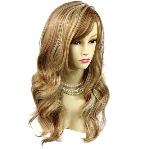 Wonderful wavy Long Golden strawberry Blonde mix Curly Ladies Wigs