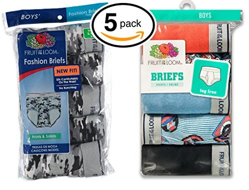 Loom Xl Fruit Of The Jungen-slips (Fruit of the Loom Boys 5Pack Printed 100% Cotton Briefs Kids Underwear XL)